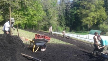 Un chantier collectif pour remplir nos planches de compost